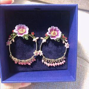 14K Gold Painted Enamel Glazed Earrings